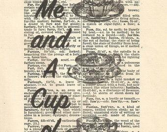 Alice in wonderland vintage print it's always tea time teacups