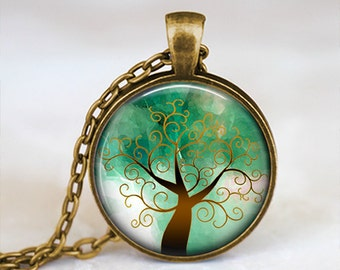 Green and Brown Whimsical Tree - Handmade Pendant Necklace