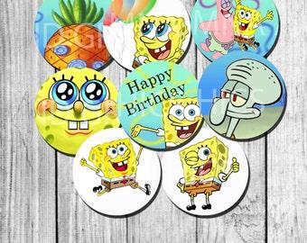 Sponge bob Cupcake Topper birthday party decoration - sponge bob toppers 2 inch INSTANT download - printable