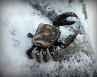 Figurine Crab, Totem Crab, Brass Sea Animal, Hand made
