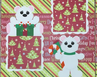 Baby's First Christmas Bears premade Scrapbook Pages