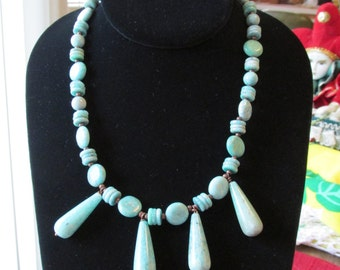 """Handmade Lovely Amazonite and  Cooper Necklace 23"""" Free Shipping"""
