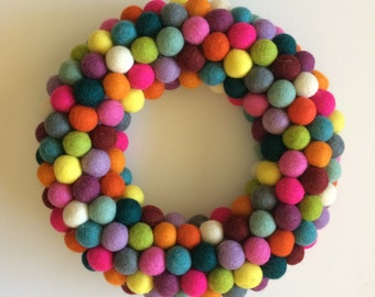"12"" Felt Ball Wreath"