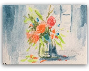Flower artwork ORIGINAL Miniature Watercolour Painting 'Spring' ACEO Floral For her Home Decor Gift Idea Wall Art, Free postage worldwide