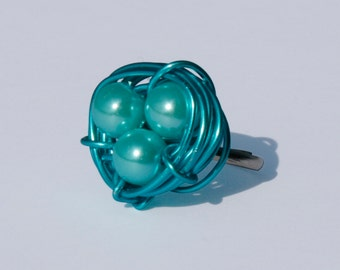 Bird nest Ring cyan