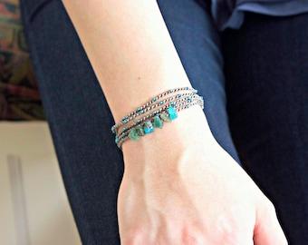 Boho Wrap Bracelet/Apatite Rough Cut Chips Bracelet/Wrap Cord Bracelet