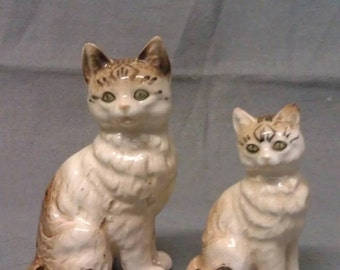 Beige and Tan Cats with Pink Nose Cat Figurines