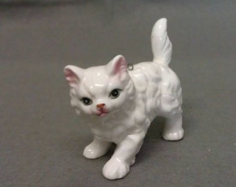 White Cat with Pink Ears and Nose and Blue Eyes Cat Figurine