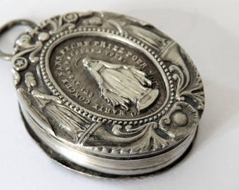 Antique French, Silver, Reliquary Box, Miraculous