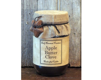 Primitive Candle, Country Candle, Rustic Candle, Apple Butter Clove Scented Jar Candle