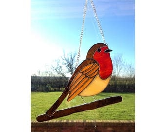 Stained Glass Robin Sun-catcher