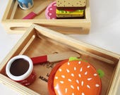 Hamburger and Sandwich wooden pretend play set personalised gift for her or him  Kitchen play  wooden food