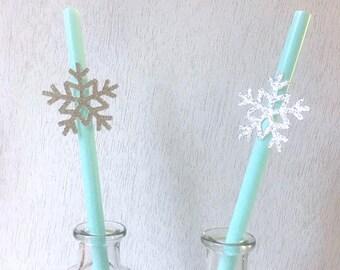 Frozen Straws, Winter Onderland Snowflake Straws, Christmas Baby Shower, Frozen Birthday Decoration, Frozen Baby Shower Straws (Set of 10)
