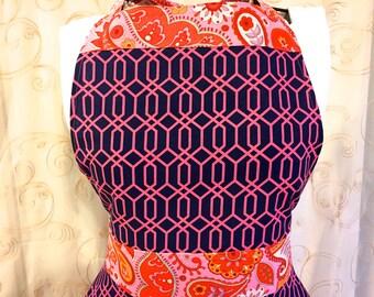 Women's Full Apron, Retro Style, Navy Blue, Pink