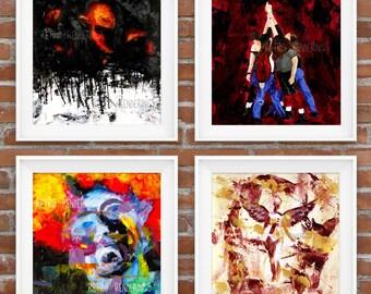 Set of 4 Grunge Art Prints, posters, paintings