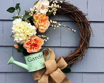 Mother's Day Gift, Spring Wreath, Wreath for Spring, Spring Garden Wreath, English Garden Wreath, Wreath for Garden, Hydrangea Wreath