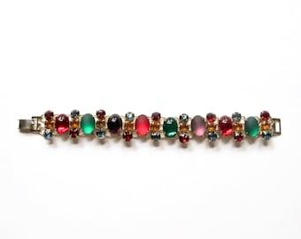 Vintage Faux Gemstone Colorful Statement Bracelet