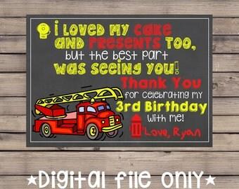 Firetruck Birthday Thank You / Firetruck Thank You Card / Firefighter Thank You / Firetruck Chalkboard Thank You / Firetruck Party Thank You