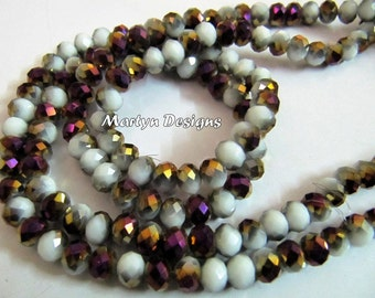 AAA Quality Grey & Purple Chalcedony Color Hydro Quartz 6mm Beads , AB Coated Two tone Rondelle Faceted Beads , approx.100 Beads per Strand.
