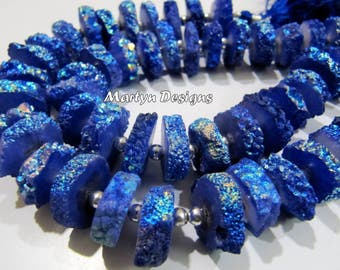 Beautiful Ink Blue Color Solar Quartz Slice Beads, Disc Sparkling 14-17mm Size Beads, Length 8 inches long , Blue Sapphire Color Druzy Beads