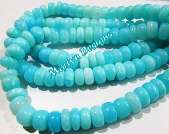 Natural Peruvian Opal Smooth beads best quality , Genuine Blue Opal Rondelle Plain Beads 7-8mm Sold Per Strand 13 inch Long