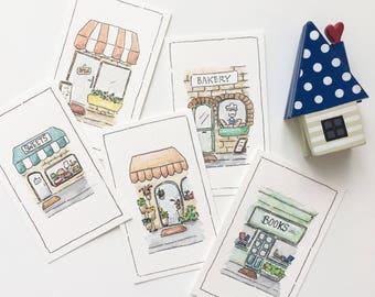 Mini Notecards (Chotskibelle & Friends) - Pretty Shops (Actual Watercolor)
