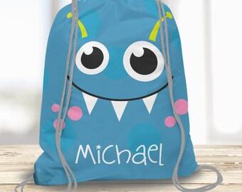 Cute Blue Monster Kids Personalized Drawstring Backpack, Boys Swim Tote Bag, Camp Bag, Beach Towel Bag, Dance Bag, Sports Bag Custom w/ Name