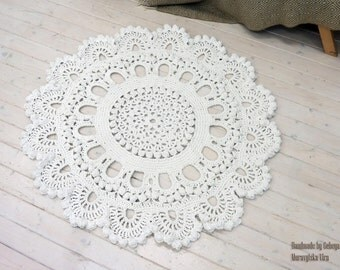 Crochet carpet KING 53 in. Round rug floor lace living room mat. Wedding birthday gift, area rug 3D Tapis provance - Living room hooked