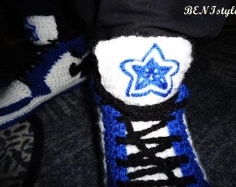 Dallas CowboyS Shoes, Nike Air Jordan1, Crochet Men's Shoes, Blue Nike Air Jordan, Crochet Home Shoes, Home Slippers, Men's Crochet Adult