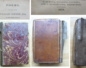 Antique shabby 1818 Cowper's poems book covers missing Regency Georgian collection