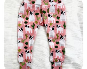 Baby Leggings ~ Cactus Leggings ~Newborn Leggings ~ Toddler Sized Leggings ~ Toddler Leggings ~ Preemie Leggings ~ French Bulldog Leggings