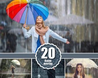 20 Rain rainbow Photo Overlays, Photoshop Overlays, Photography Photo Prop, drops, backdrops, Photo effect, Realistic rain, png file