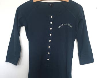 Calvin Klein Jeans Ladies Vintage blue 3/4 sleeve top UK medium