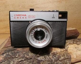 Vintage Mechanical Camera Smena 8M Lomo,35mm Film Viewfinder Camera,Soviet USSR Photo Camera, Travel Camera, Black Leather Case, Photography
