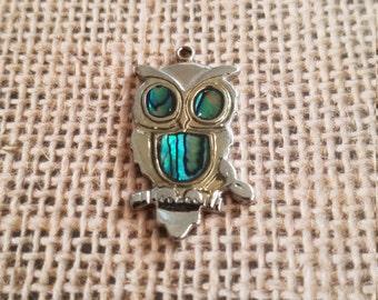 Vintage owl pendant charm abalone pearl