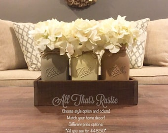 Neutral Toned Mason Jar Centerpiece, Mason Jar Decor, Rustic Decor, Mason Jars, Soft Tone Jars, Painted Mason Jars, Housewarming Gift