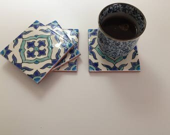 Hand painted ceramic coasters floral pattern