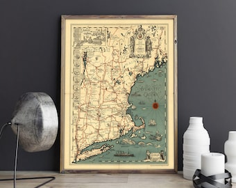 Old Map of New England| Atlantic Ocean Map| Vintage USA Map| Maine Map| New Hampshire Map| Vermont Map| Massachusetts| Rhode Island| AMC161