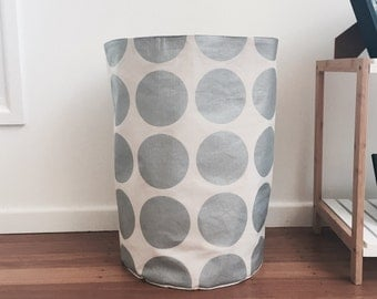 Handmade Large Silver canvas metallic spot laundry or toy hamper.