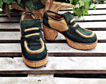60's SUPER FUNKY PLATFORM Shoes,Green suede,cork ,wooden ,Casual,Hippie shoes,,,Very Groovy!!!!