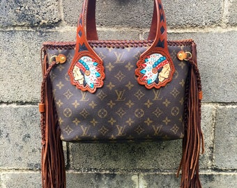 Revampe Louis Vuitton, Tooled Leather Purse, Fringe Leather Purse