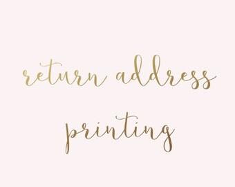 ADD ON | Return Address Printing