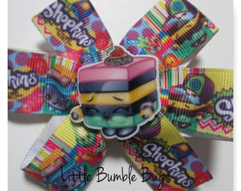 Baby/Toddler/Girl/Adult 3.5 Inch Pinwheel Hair Bows on Lined Alligator Clip - Shopkins Le'Quorice