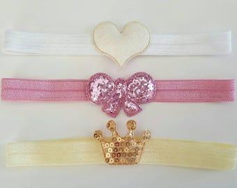 Baby - Toddler Sequin Crown Heart Bow Headbands Set of 3