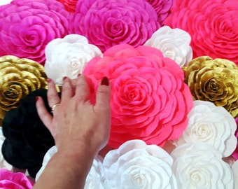 paper flowers giant crepe large wall pink gold White black nursery decor Home Unicorn Party bridal kate baby shower spade wedding backdrop
