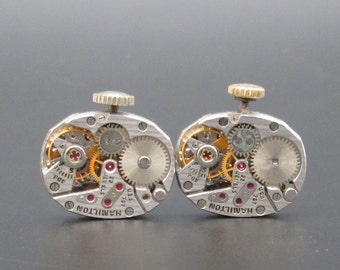 Vintage Watch Movements, Hamilton Pinstripe Movements, Mechanical Watch Movement for Cuff Links, Steampunk or Altered Art (#HM13)