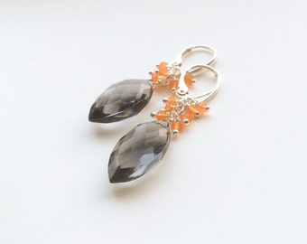 Gray quartz sterling silver earrings 925/crneool/cornalijn Orange earrings anthracite facet cut bridal earrings,
