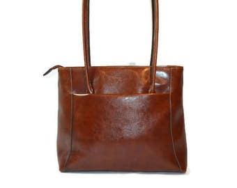 Vintage Handbag, Vinyl Purse, Chestnut Brown, No Name Handbag, Shoulder Bag