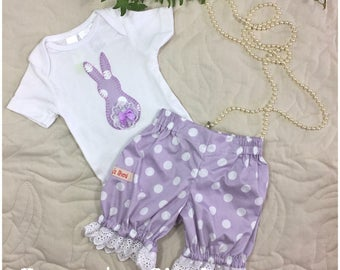 Girls Pantaloons Set - Easter Set - Girls Bloomer Set
