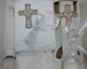 Silver Cross With Dove Baptism Set